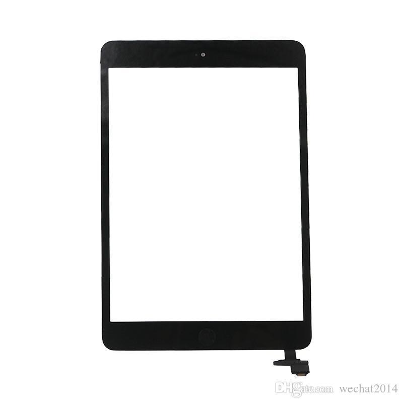 Panneau en verre à écran tactile avec numériseur avec boutons de connexion ic pour iPad Mini 2 noir et blanc