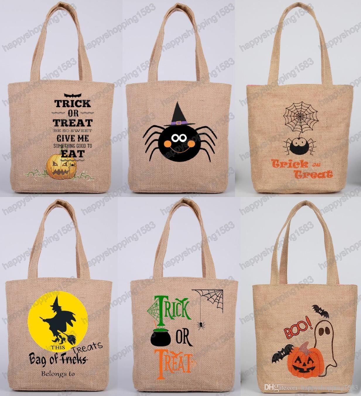 2017 2017 halloween candy handbags handbag children halloween supplies jute canvas gifts bags trick or treat pumpkin shopping bag from happyshopping1583 - 2017 Halloween Candy