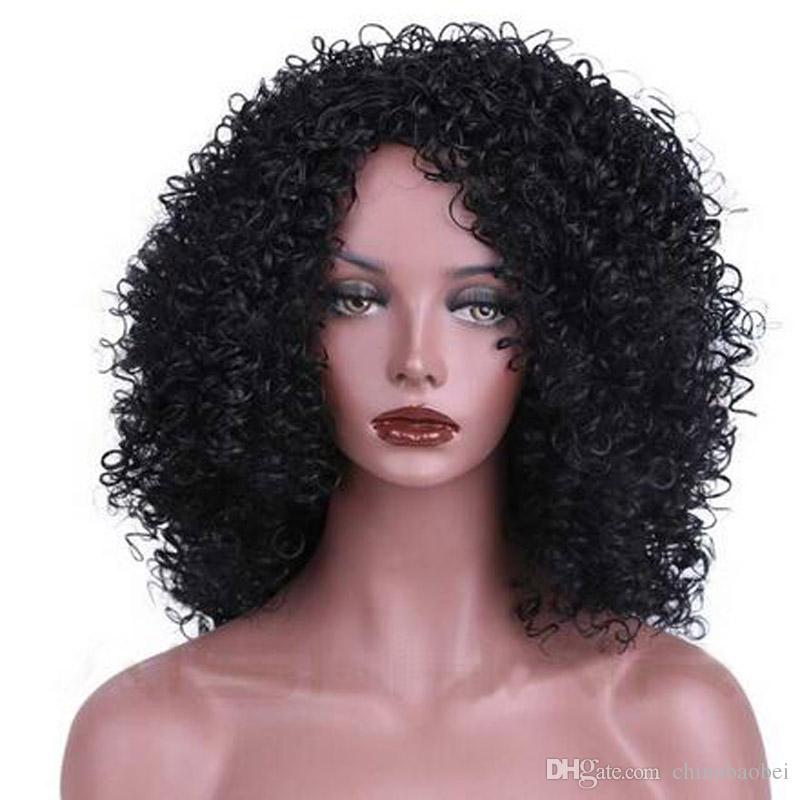 12inch haute température fibre mélangée brun et blonde couleur cheveux courts perruques afro kinky bouclés pour les femmes