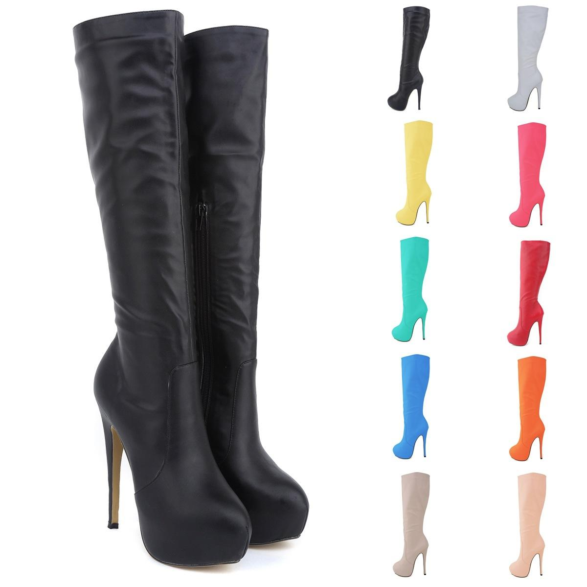 d2047404efb Boot Female Brand New Women High Heels Knee Wide Leg Stretch Women Boots  Sexy Winter Autumn Shoes Us Size 4 5 6 7 8 9 10 11 D0040 Wedge Boots  Waterproof ...