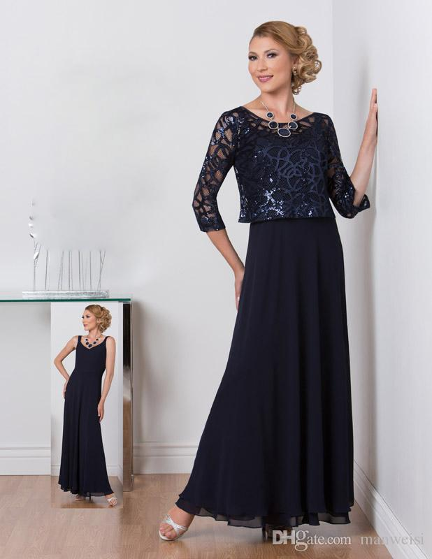 Dark Navy Ursula Mother Of The Bride Dresses With Jacket Sequined Cheap A Line Mothers Guest Dress