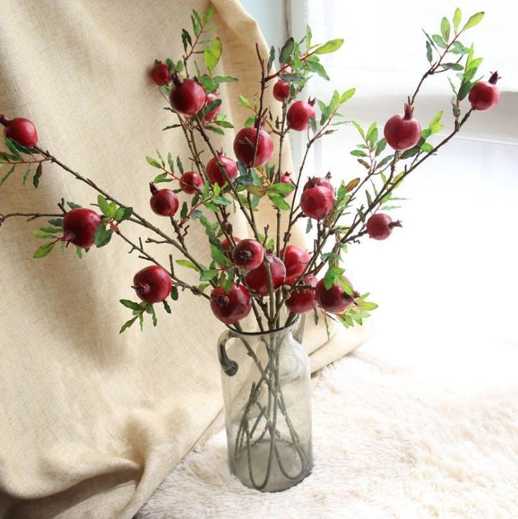 Pomegranate fruit flowers simulationfall artificial fruit decorations pompoms christmas decorations wreath frames holloween flores