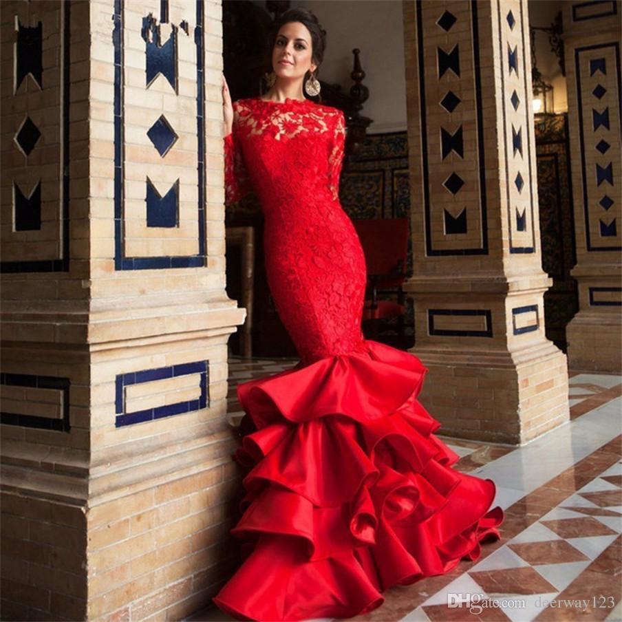 Manga larga de encaje rojo con volantes falda sirena vestidos de noche mujeres ocasión especial vestido vestido de gala espalda abierta vestido de fiesta