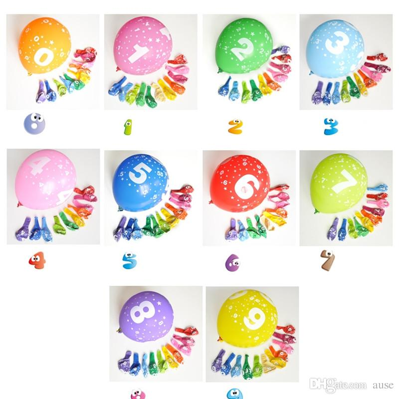 12 Inch 28g Birthday Number Printed Latex Balloon Air Balls Inflatable Happy Party Decoration Float Toys Helium Supplies