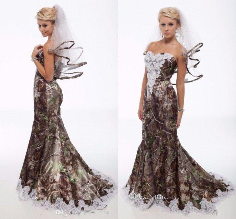 Custom Made Camo Wedding Dresses Mermaid Lace Appliques Open Back ...