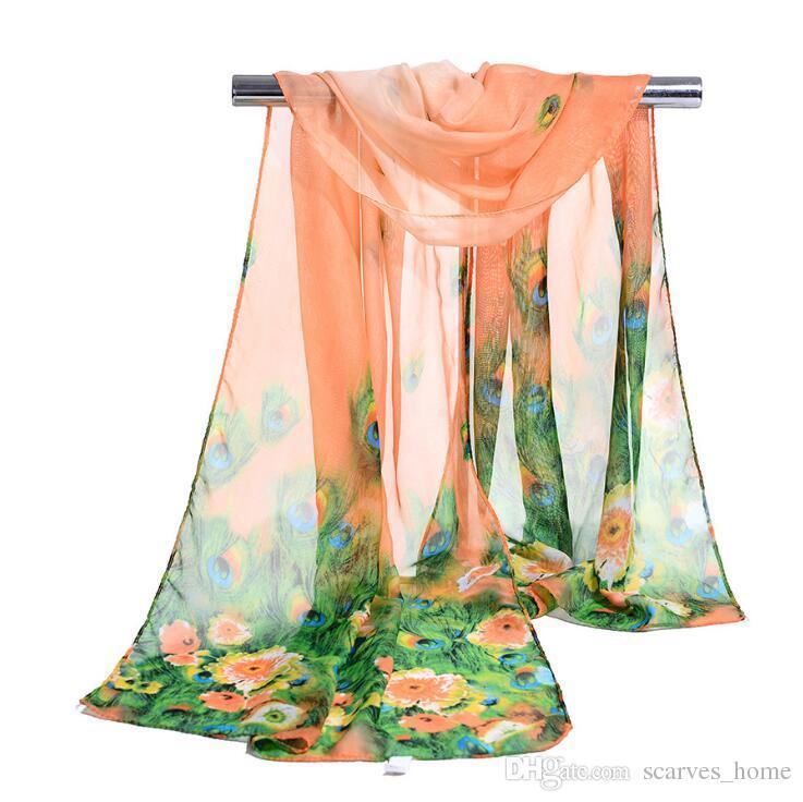 Fabrik Großhandel Silk Chiffon Schal Lange Frau Schal Sommer Pashminas Für Frauen Florial Pfau Druck Schals 160 * 50 cm DHL frei
