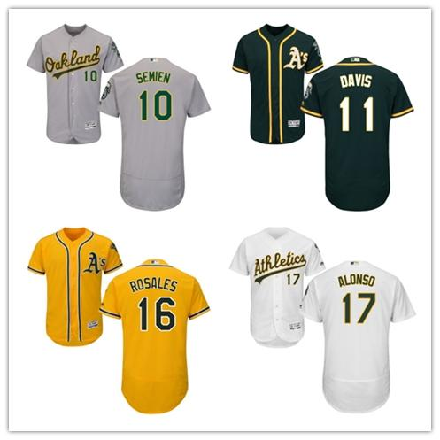 79820f2c5 ... Jersey White 2017 Flexbase Men Oakland Athletics 10 Marcus Semien 11  Raja ...