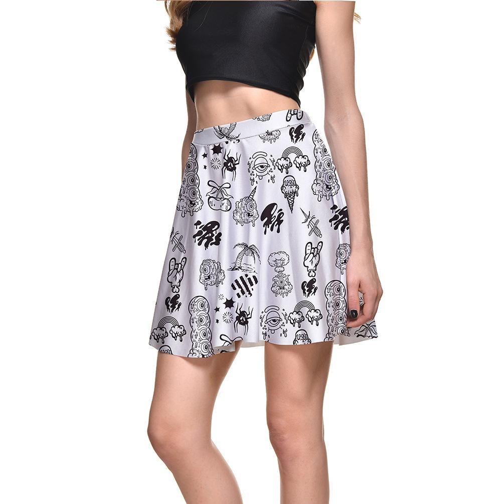 2018 Summer 2017 New Womens Sexy Graffiti Print Short Skirts For
