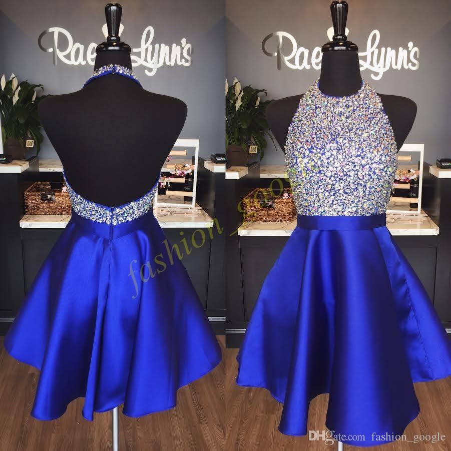Royal Blue Homecoming Dresses 2017 Fall In Stock Major Bling Bling Crystals Halter Prom Dress Backless Sweet 16 Abito Real Photo