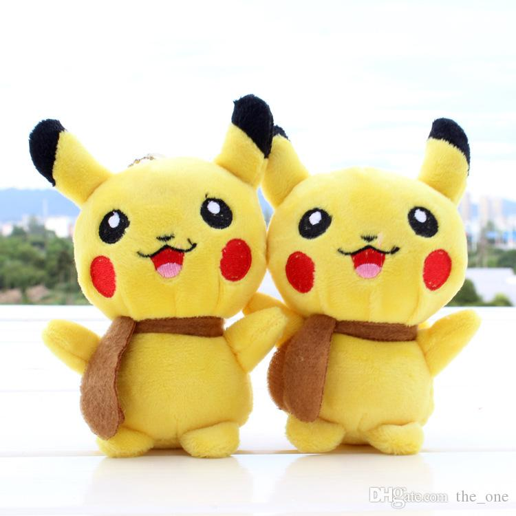 Hot Poke plush toy Pikachu Plush Keychain Pendant Phone Strap soft Stuffed Dolls 13cm free shipping in stock