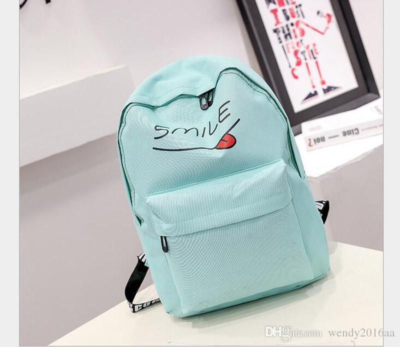 2017 nuovo sorriso lettera scuola borse set ragazzo ragazza studente casuale tela zaino borse matita borsa a tracolla