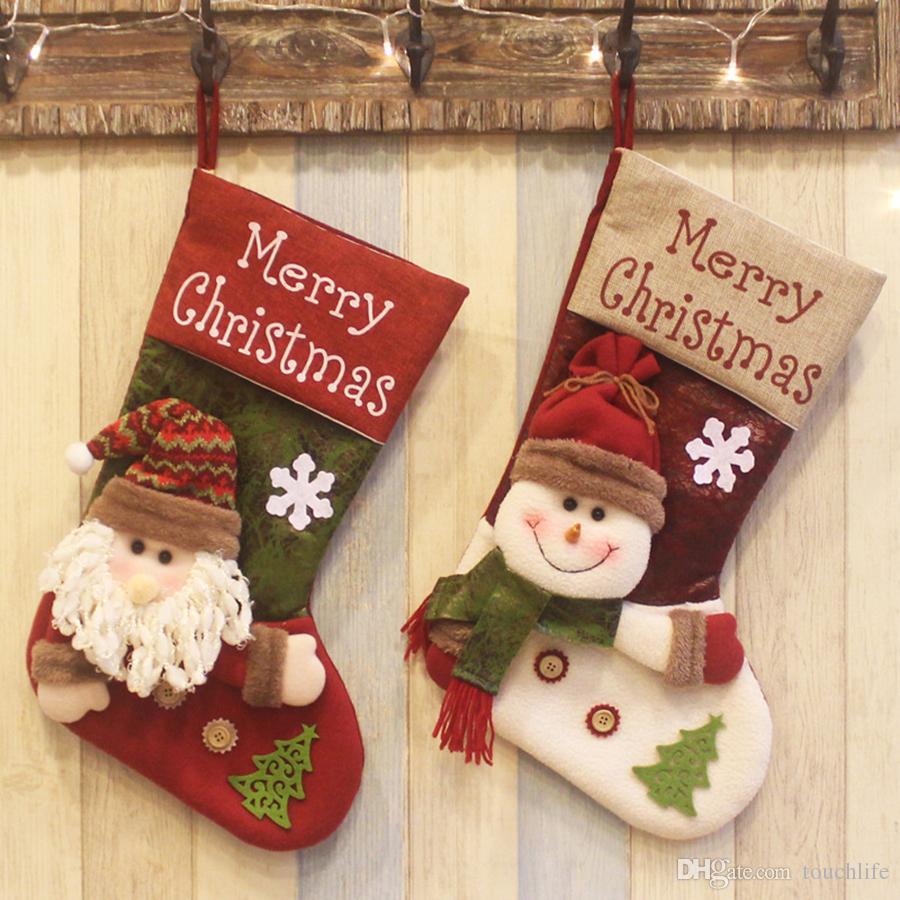 Deluxe Christmas Stocking Handmade Snowman And Santa Claus Stocking Christmas Tree Bag Hanging Gift Socks Xmas Decor 19inch Shop Decorations For Christmas
