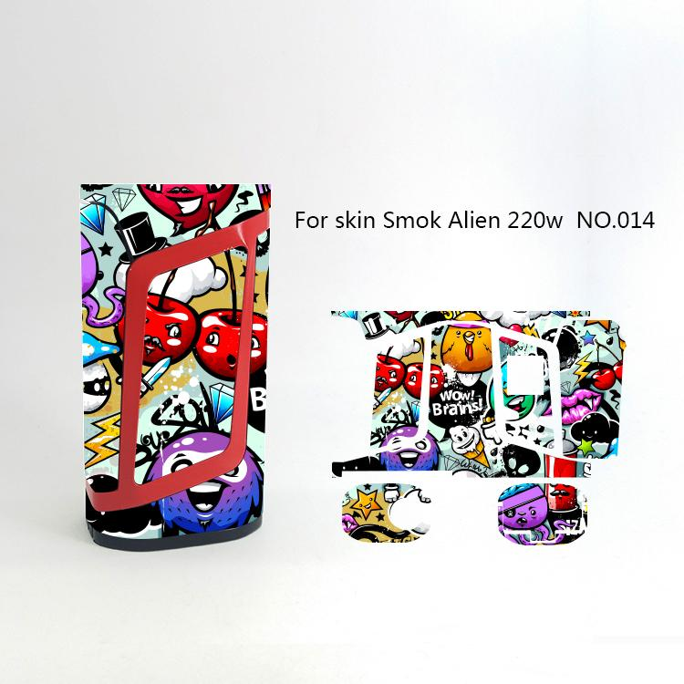 Alien 220W Skin Wraps Sticker Cases Cover for Alien 220 Watt TC Box Mod Vape Protective Film Stickers With 18 Pattern DHL