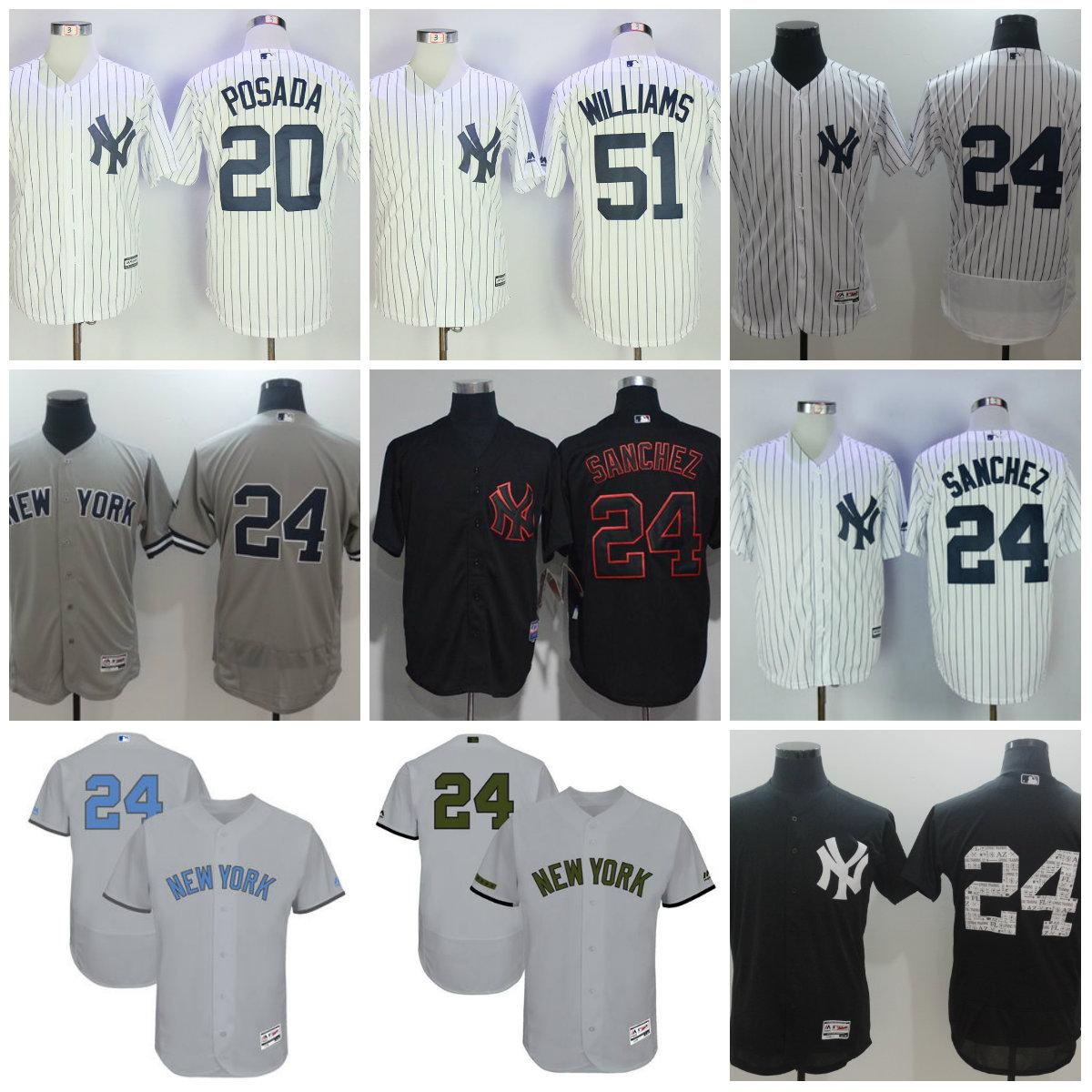 69abfd97d ... 2017 MenS New York Yankees 24 Gary Sanchez Jersey 51 Bernie Williams  Jorge Posada White Navy