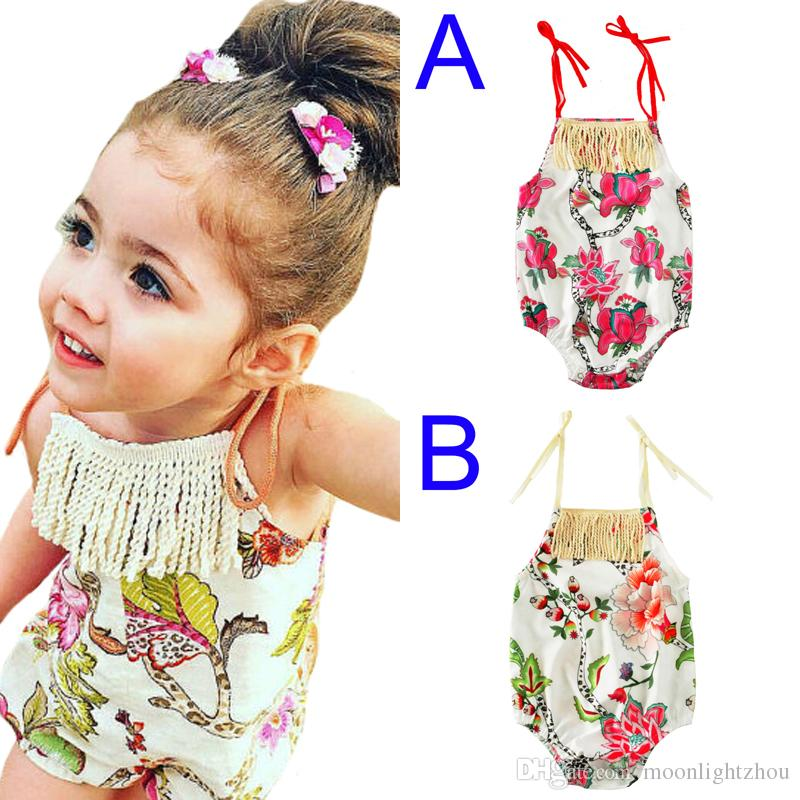e90b712b139b 2019 Floral Baby Girls Tassel Romper Sleeveless Jumpsuit Newborn Clothes  Outfits 2017 New Summer Fashion Flower Infant Rompers Kids Clothing From ...