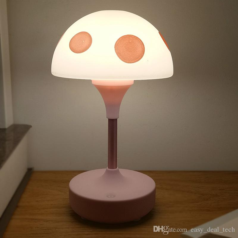 Creative Mushroom 3 Modes Dimming Night Light USB Charging Touch Bedroom Desk Light Reading Table Lamp Eye Protection Gift Light ZJ0452