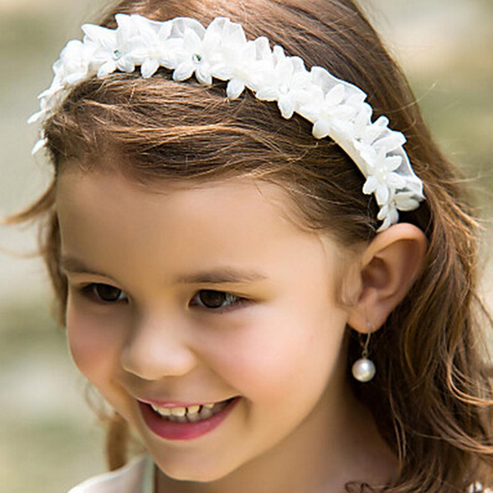 White Flower Girl Headbands Wedding Hair Accessories For Children