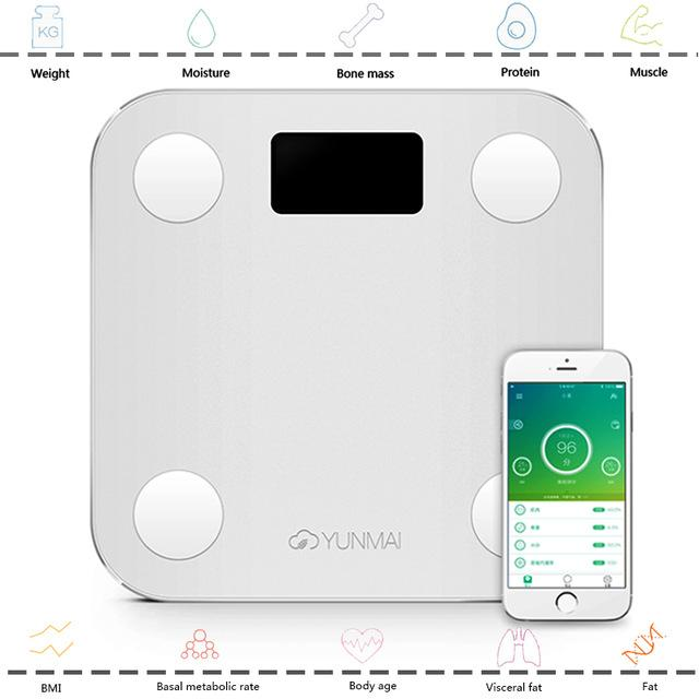 Wholesale- Original YUNMAI Mini Smart Weighing Scale Digital Scale Support Android4.3 IOS7.0 Bluetooth 4.0