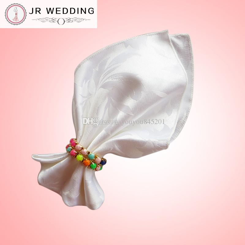 100% polyester white&ivory plain damask jacquard table napkin(bauhinia flower pattern) 100pcs a lot for wedding,party,hotel decoration use