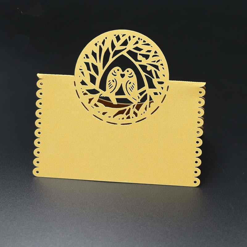 Pearlescent Birds design Wedding Name Place invitation Cards Party Table Decor Table Name Message Beige White Greeting Cards