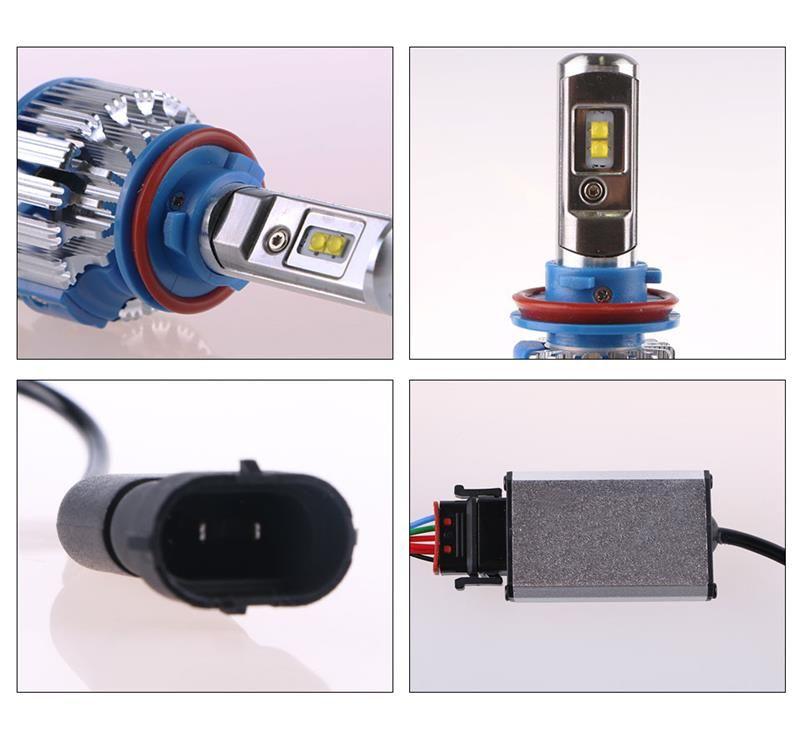 DHL tarafından Nakliye T1 Araba Far H7 H4 LED H8 / H11 HB3 / 9005 HB4 / 9006 H1 H3 9012 H13 9004 9007 70 W 7000LM AUTO ampul far 6000K ışık