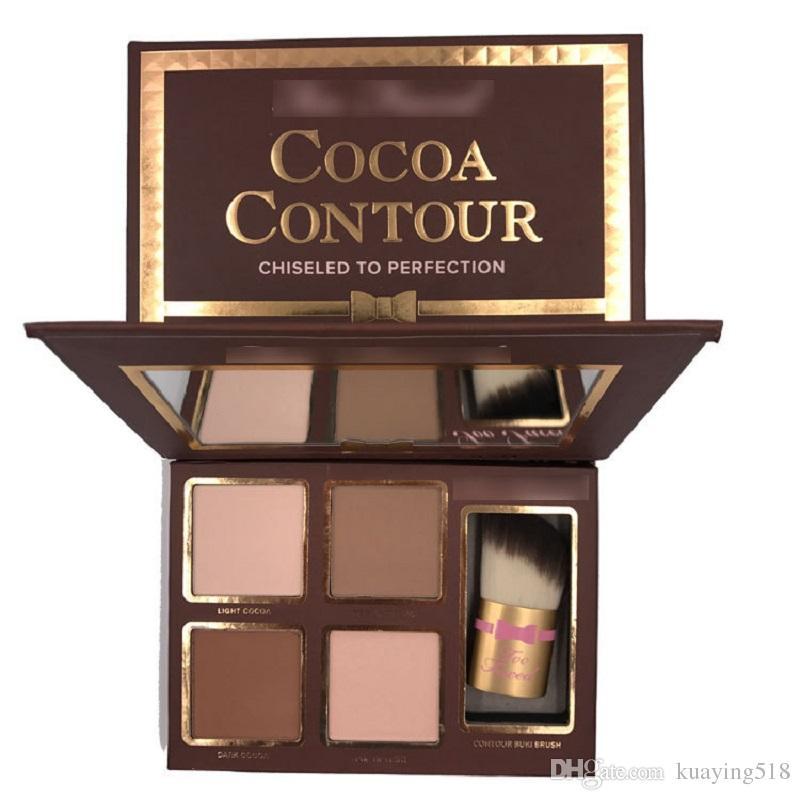 Yeni COCOA Kontur Kiti Highlighters Paleti Çıplak Renk Kozmetik Yüz Kapatıcı Makyaj Kontur Buki Fırça ile Çikolata Göz Farı stokta