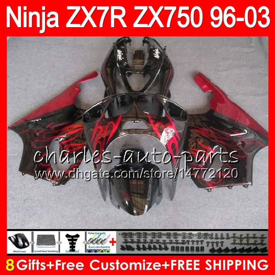 8Gifts For KAWASAKI NINJA ZX7R 96 97 98 99 00 01 02 03 TOP red black 18NO36 ZX750 ZX 7R ZX-7R 1996 1997 1998 2001 2002 2003 Fairing