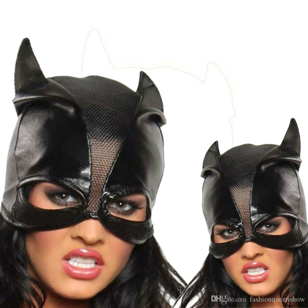 Black Catwoman Hat Open Eyes Mask Cosplay Costume Outfit Bat Ears Face Cover Halloween Cosplay Accessory