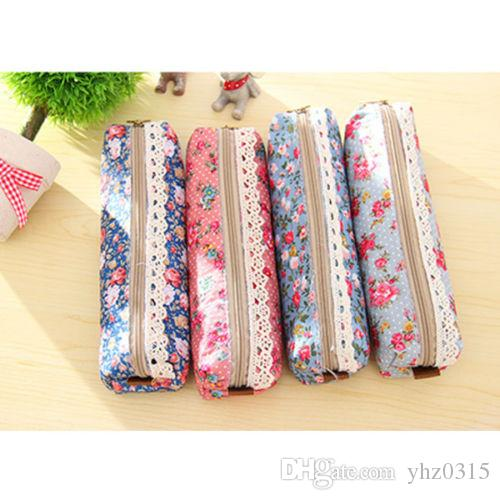 Bonito Kawaii Floral Canvas Zipper Lápis Caso Tecido Do Vintage Dot Lace Pen Bag para Crianças Meninas Material Escolar