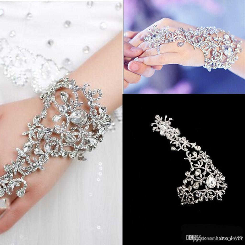 Cheap Gloves Wedding Bridal Jewelry Crystal Rhinestone Finger Chain Ring Bracelet Gorgeous Party Event Wristband Bracelet