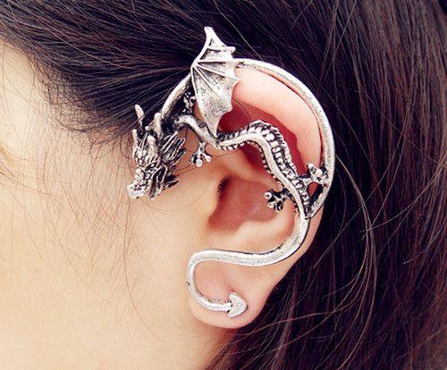 Vintage European Styles Dragon Earring Dragon Ear Stud Earrings Charm Ear Clip Ear Cuff For Women Man Gifts