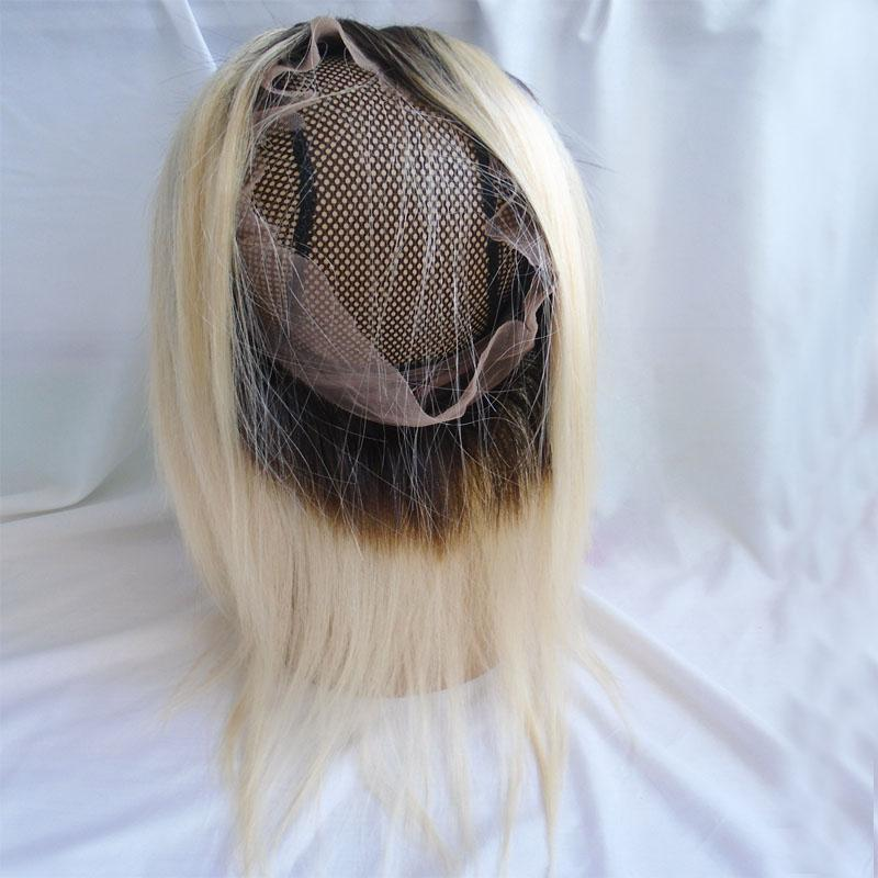 T1b 613 Blonde Ombre 360 Lace Frontal Closure With Baby Hair Two Tone Straight Peruvian Brazilian Indian Malaysian Virgin Human Hair