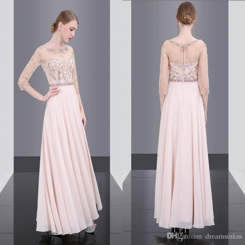 4787163ed4f 2017 New Vintage Long Sleeves Evening Dresses Jewel Sherk Neck Chiffon  Guest Dresses Beaded Crytarls Back Zipper Prom Dresses Free Necklace  Champagne ...