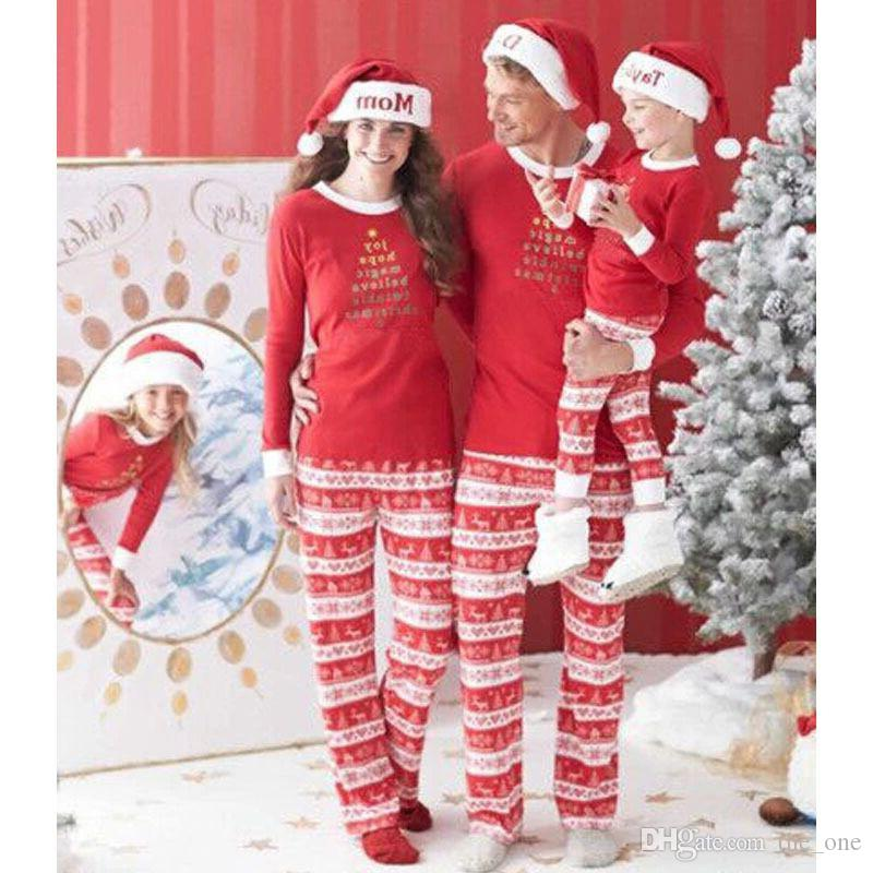 a8e6c7c8ca 2019 Pjs Family Matching Outfits Christmas Letters Pajamas Mother Daughter  Father Son Toddler Pajamas Family Clothing From The one