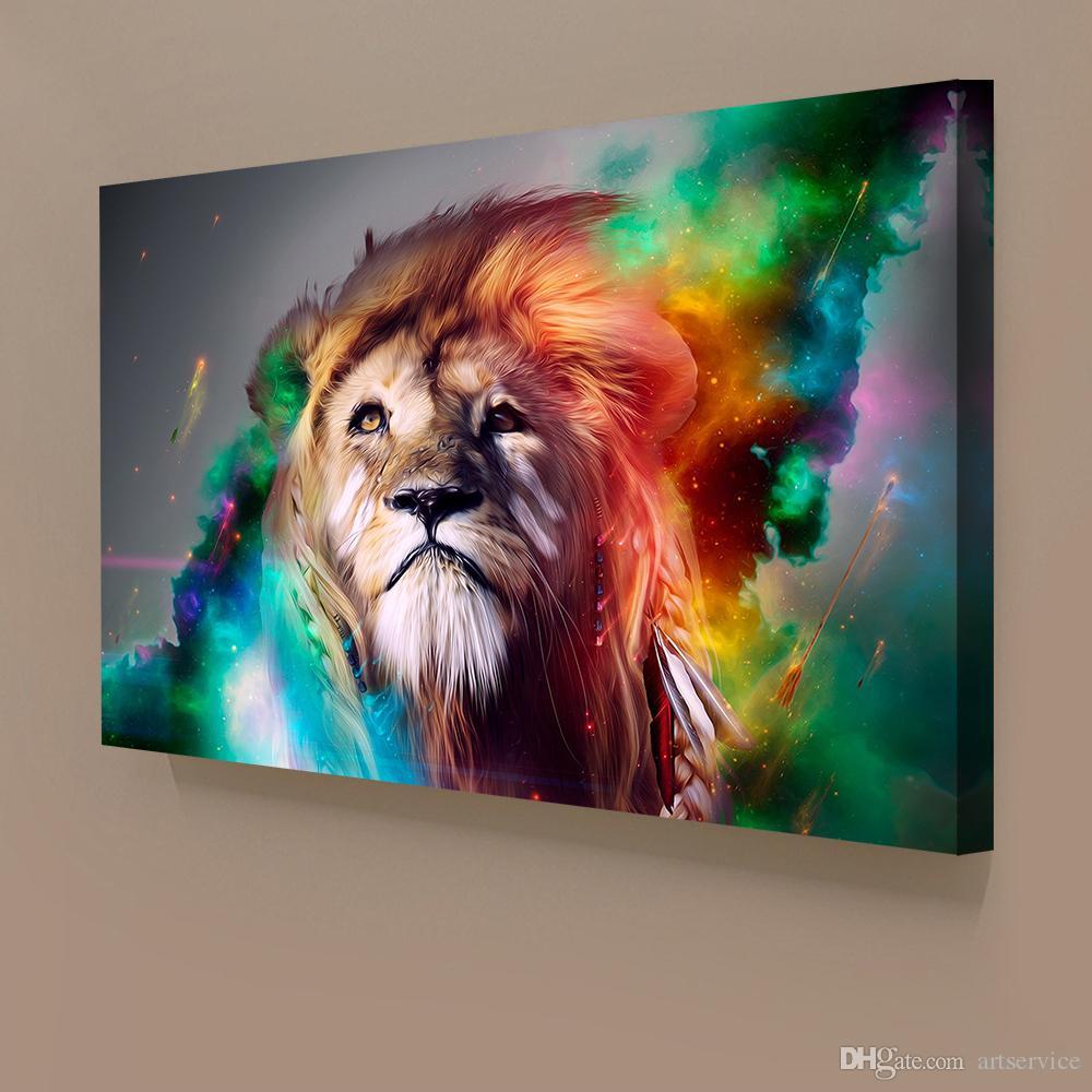Satın Al 1 Paneller Soyut Aslan Renkli Boyama Ev Dekor Duvar Sanatı
