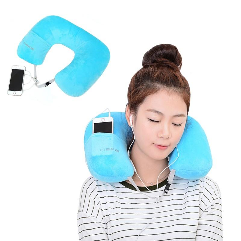 Wholesale U Shape Inflatable Pillow Portable Flannel Travel Flying