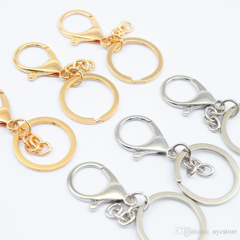 8 styles Wholesale Metal Split Keychain Ring Parts D Shape Key Chains Open Jump Ring and Connector DIY Keychain Accessories