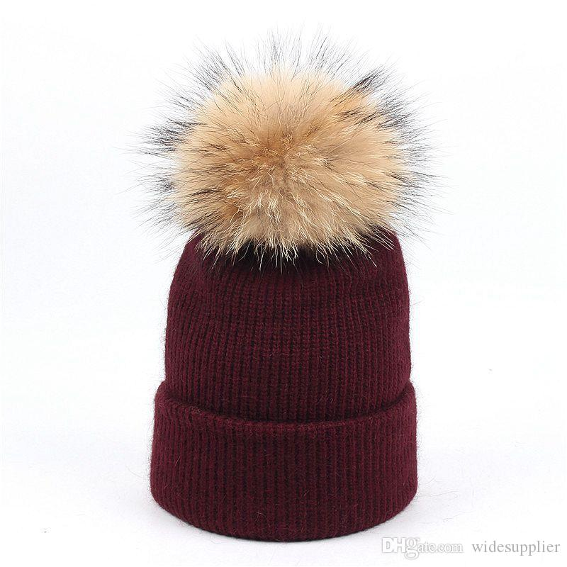 High Quality Kids rabbit hair knit hat baby raccoon fur ball solid color curling head cap hat warm ear protection winter hats