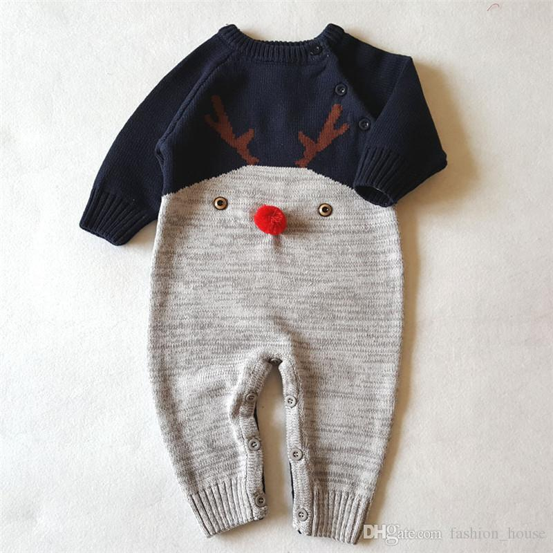 Christmas Rompers Infant Baby Knit Deer Jumpsuits Toddler Knitted Crochet Romper Baby Autumn Clothes A08