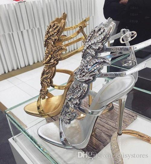 Sexy Bling Kristall gebohrt Winkel Wings High Heel Sandalen Shiny Leder Bridal Gold Plated Winged Gladiator Hochzeit Sandale Schuhe