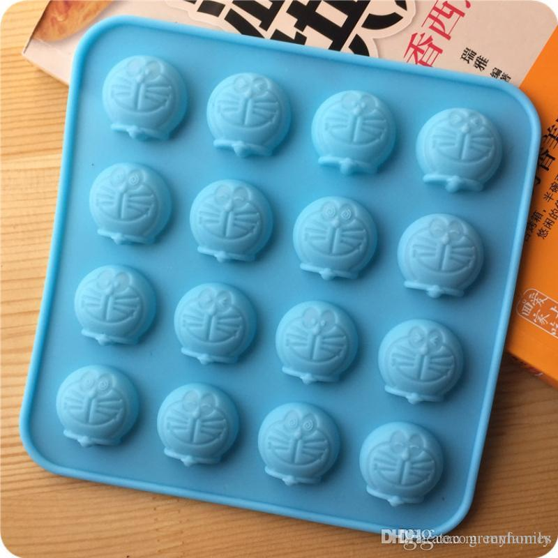 b49b688a23362 DIY 16 Holes Cartoon Doraemon Cake Chocolate Cookies Ice Cube Soap Pudding  Clay Candy Silicone Mold Tray Baking Mold Ice Mold Ice Cube Tray