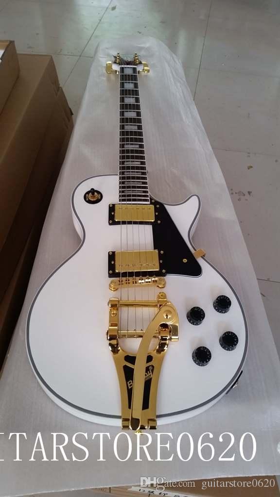 Commercio all'ingrosso bianco chitarra elettrica chitarra jazz palissandro accessori dorati spedizione gratuita
