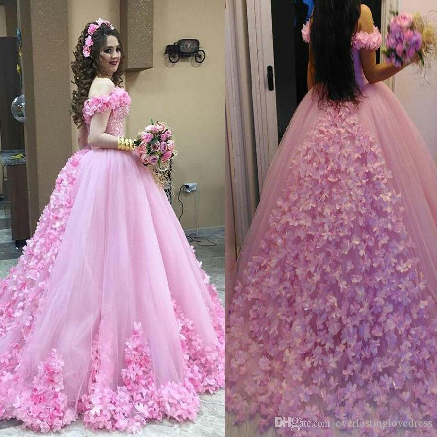 Beautiful Pink Hand Made Flower Wedding Dresses Ball Gowns Off