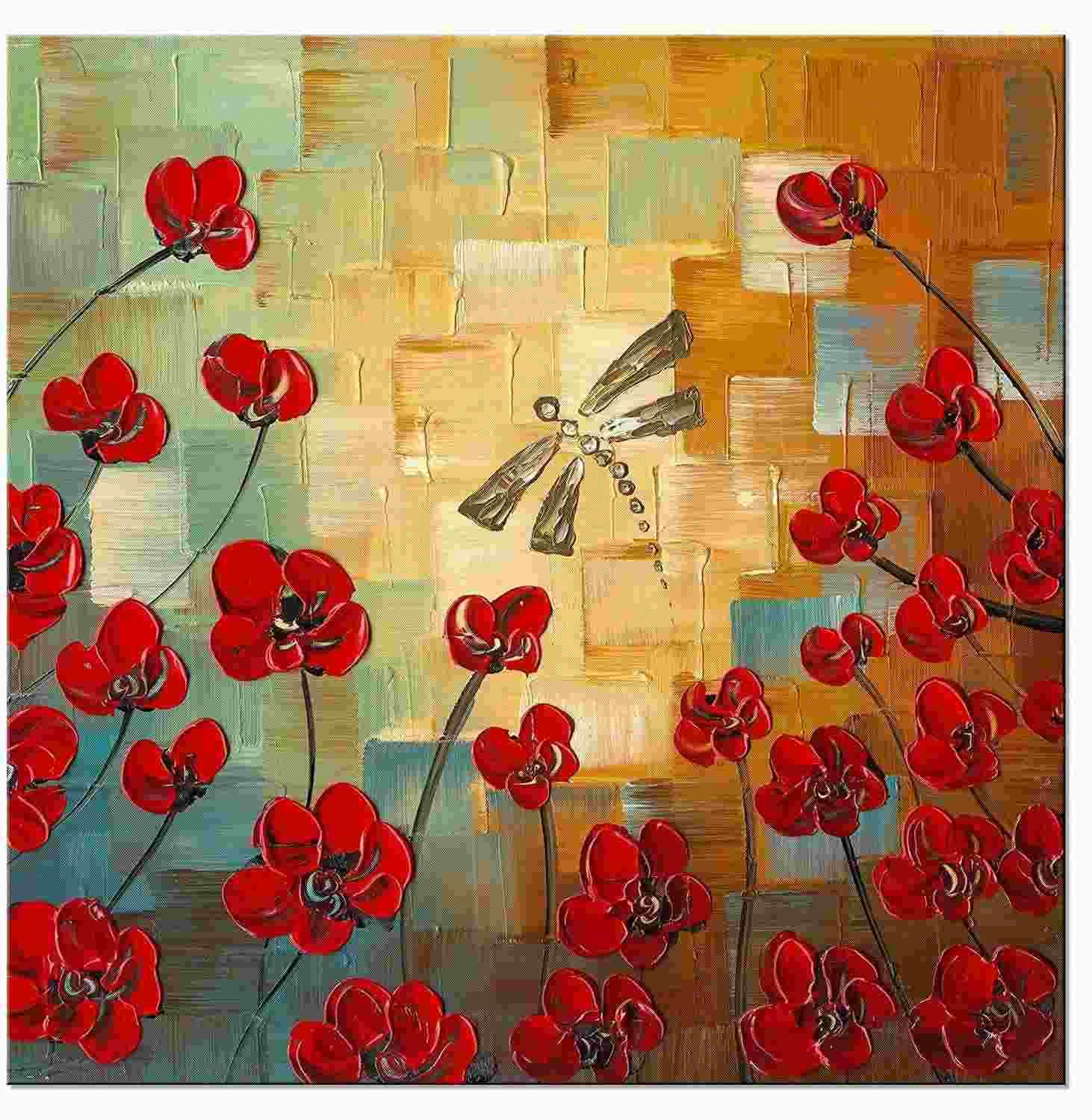 2018 Dragonfly Modern Flowers Artwork 100% Hand Painted Floral Oil ...