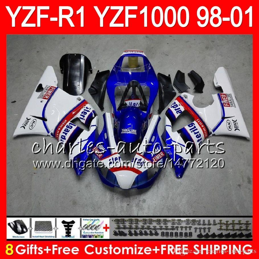 8Gift Cuerpo para YAMAHA YZF 1000 R 1 YZFR1 98 99 00 01 61HM15 azul negro YZF1000 YZF R1 YZF-R1000 YZF-R1 1998 1999 2000 2001 Carenado