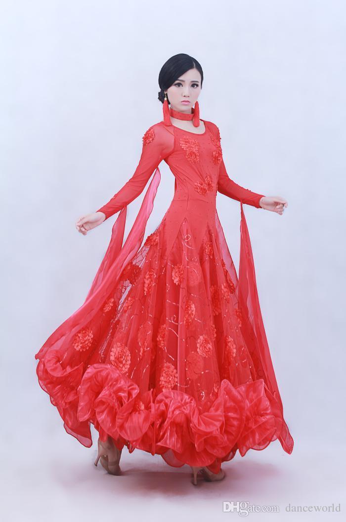 2018 Sexy dress modern adult diamond embroidery Waltz Tango Foxtrot quickstep costume competition clothing standard ballroom dance skirt