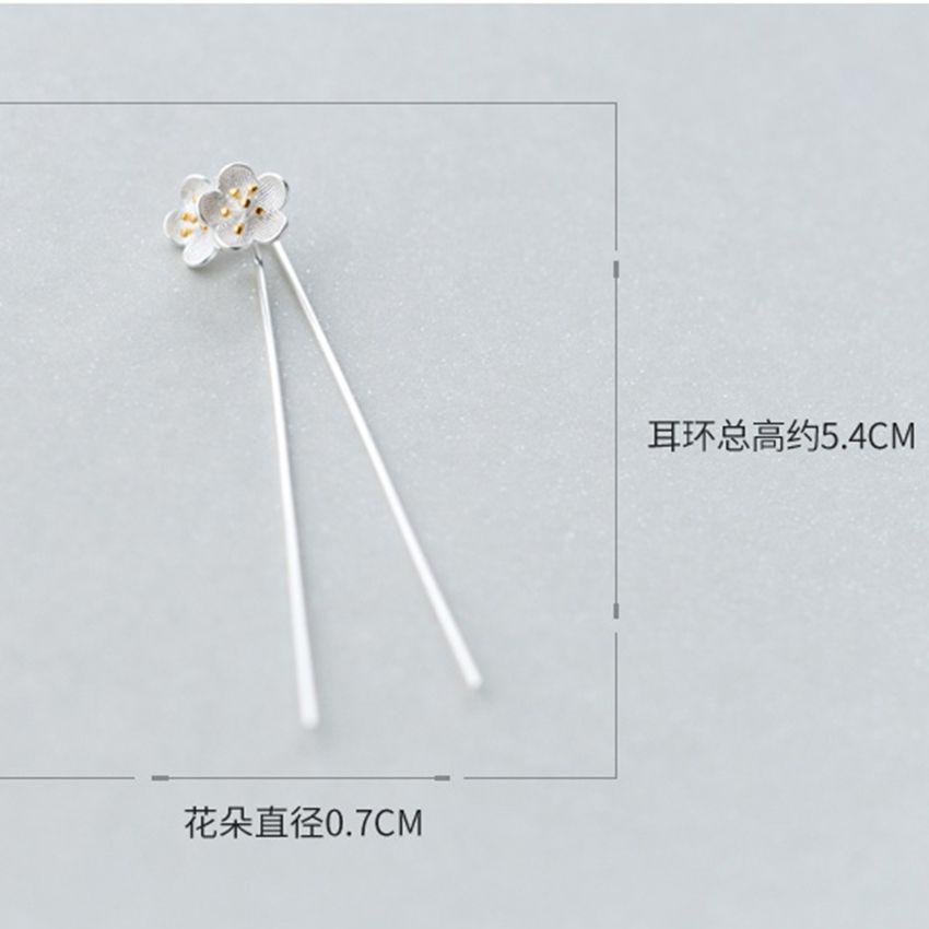 Elegant Pure 925 Sterling Silver Vintage Lotus Flower Earrings For Women Statement Jewelry Pendientes Brincos
