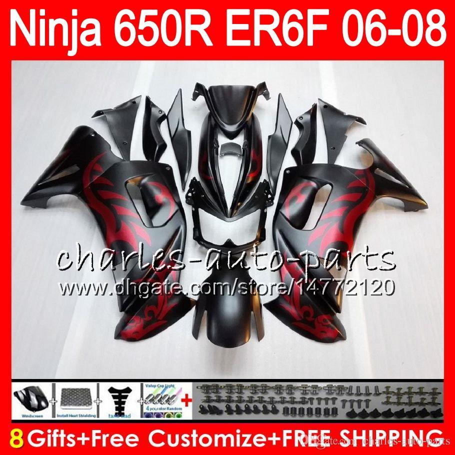 Red flames 8Gifts Body For KAWASAKI NINJA 650R ER6F 06 07 08 20HM3 ER 6F 06-08 ER6 F ER-6F 2006 2007 2008 Fairing Kit Matte black