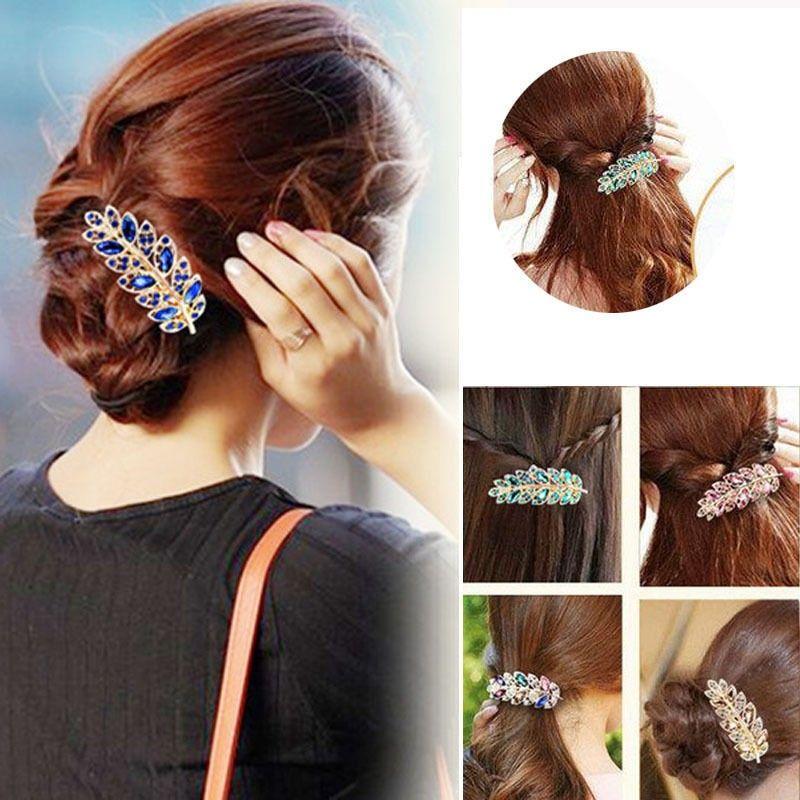 Beauty Women Fashion Hair Clip Leaf Crystal Rhinestone Barrette Hairpin Headband Hair Accessories