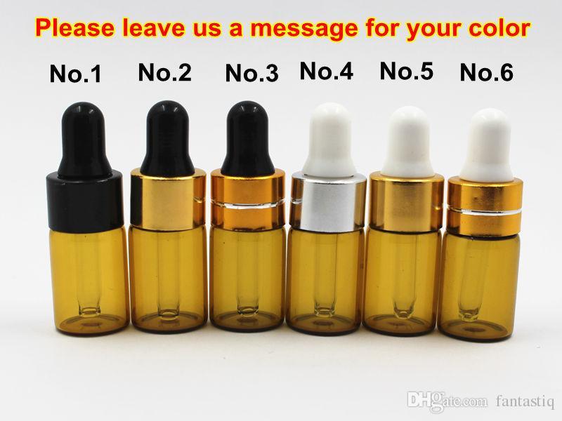 Mini 1ml 2ml 3ml Botella de gotero de vidrio ámbar Frascos de exhibición de aceite esencial Botella de prueba de muestra de perfume de suero pequeño marrón